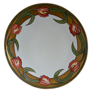 Thomas Sevres Bavaria Hand Painted Tulip Plate, Artist Signed 1908 - 1934