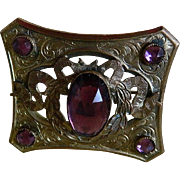 SALE Antique Gorgeous Victorian Gilded Gold Brooch with Purple Stones