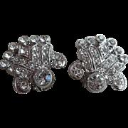 Beautiful Clear Rhinestone Clip Silver Tone Earrings 1950-1960's