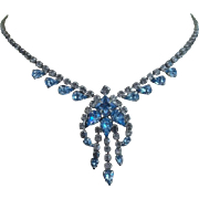 Beautiful Blue and Clear Rhinestone Necklace and Earrings 1950's