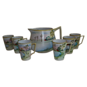 Exquisite Nippon Handpainted Pitcher and Six Cups  1900-1921