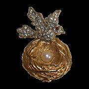 SALE Vintage Brooch Bird on Nest Gold Tone