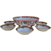 SALE Antique Limoges France handpainted China Berry Bowl Set 1905-1906
