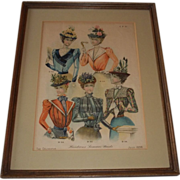 "SOLD The Delineator ""Handsome Summer's Waists"" July,1898 Framed Print"
