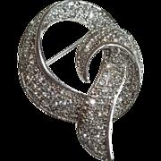 Art Deco Style Clear Rhinestone Silver Tone Brooch
