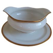 Syracuse China Gravy Boat with Attached Plate 1897-1926