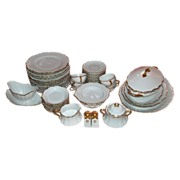 SALE Antique 52 Piece  Set of  Royal Austria China, White with Gold 1889-1916