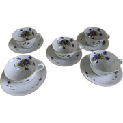 Lovely Set of Five Violet Cups and Saucers, Cherry China Japan Mid-Century