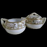 Morimura, Nippon Handpainted Sugar Bowl with Lid and Creamer 1911-1921
