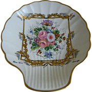 Limoges France, Castel, Hand Decorated Shell Shaped Dresser Tray 1955-1979