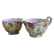 "Lord Nelson Ware ""Rose Time"" Creamer with Open Sugar Bowl England"