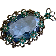 Lovely Czech Pendant With a Faceted Blue Glass Stone