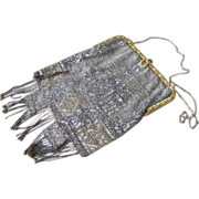 Flapper 1920's Micro Beaded Purse Very Good Condition Silver & Gold