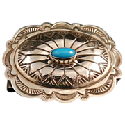 SALE Southwestern Style Stamped Sterling Silver and Turquoise Money Clip