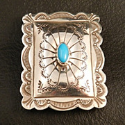 SALE Southwest Style Stamped Silver and Turquoise Money Clip