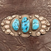 SALE Native American Oval Sterling Silver and Turquoise Pin Signed by Jeff Thomas