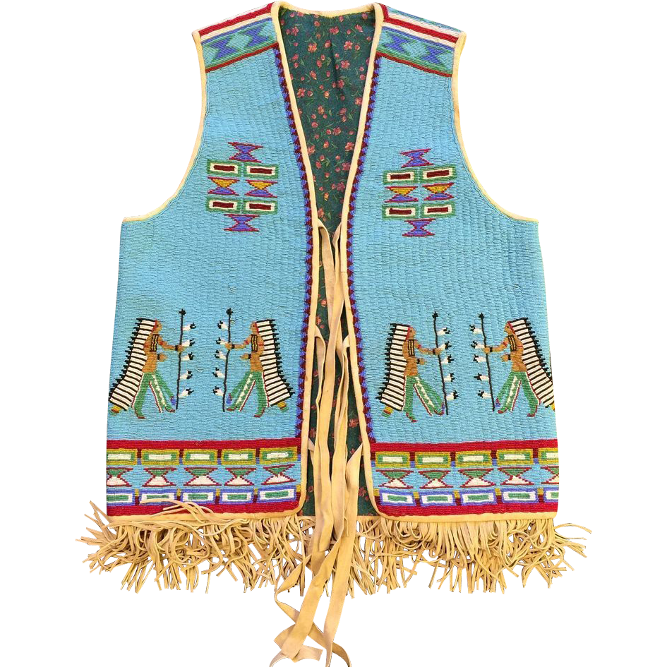 American Furniture Denver Co Native American Indian Style Beaded Vest With Chief Motif ...