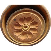 Antique Wooden Butter Stamp W Flower