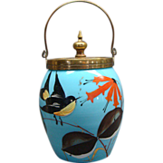 French Blue Opaline Glass Jam Jar With Enamel Painted Bird
