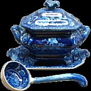RARE Dark Blue 4 Piece Staffordshire Sauce Tureen Birds & Fruit 1820