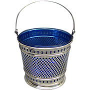 Sterling Silver Basket With Cobalt Blue Glass Liner Shreve Crump & Low