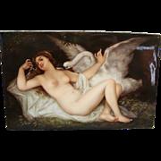 Antique Painting On Porcelain Leda & The Swan Artist Signed F Vogt