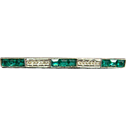 Vintage Green and White Rhinestone Bar Pin