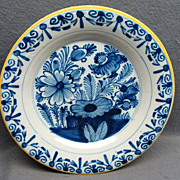 18th Cen Tin Glaze Dutch Or German Blue & White Plate With Flowers