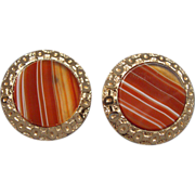 Fancy Victorian Gold Filled and Banded Agate Cufflinks Ca 1880
