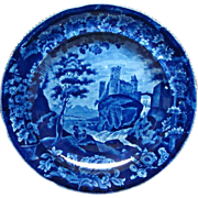 Dark Blue Historical Staffordshire Plate Vue d'une Ancienne Abbaye from the French Series by