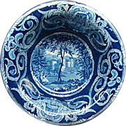 Staffordshire Transferware Dark Blue Wash Bowl Ca 1830