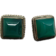 SOLD Vintage Pair Of Sterling Silver and Jade Earrings