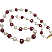 14k Gold Faceted Graduated Ruby and Pearl Necklace