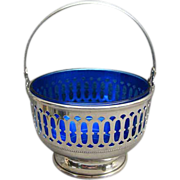 Sterling Silver Basket With Cobalt Blue Glass Liner Redlich &Co. NY NY
