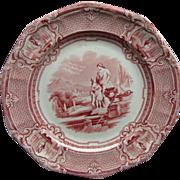 "Red Staffordshire Transferware 8 3/4"" Plate Carrara Ca 1852"