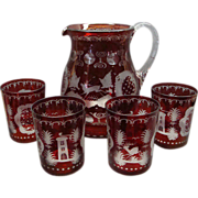 SOLD Bohemian Ruby To Clear Etched Glass Lemonade Pitcher and 4 Tumblers