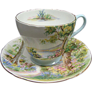 Vintage Shelley Bone China Woodland Cup & Saucer