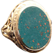 Victorian 14K Gold Filigree and Bloodstone Ring