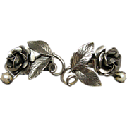 Vintage Reis Sterling Silver & Pearl Floral Earrings