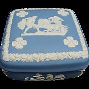 "Vintage Blue Wedgwood Jasperware 4"" Trinket Box"