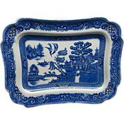 SALE Antique English Bakewell Blue Willow Serving Platter