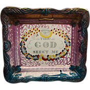 SALE Sunderland Pink Luster Motto Plaque Thou God Sees't Me Ca 1830