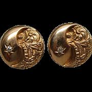 Edwardian 10K Gold & Diamond Filigree Earrings