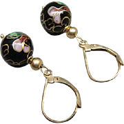 SOLD Signed ZZ 585 14K Gold French Leverback Pierced Earrings Cloisonne
