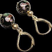 SALE PENDING Signed ZZ 585 14K Gold French Leverback Pierced Earrings Cloisonne