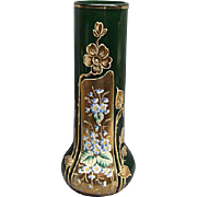 "Antique Emerald Green Bohemian Moser 11 1/4"" Gold Gilded Enamel Painted Vase"