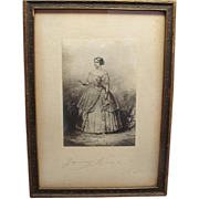Signed Engraving Of Jenny Lind 1850 Gift To President Grover Clevelands Wife Plus Ticket To ..