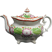 Staffordshire Creamware Floral Decorated Teapot Ca 1810 Rare Mint Condition