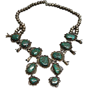Vintage Native American Sterling Silver & Turquoise Squash Blossom Necklace 1950's
