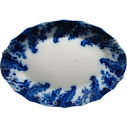 "17 1/4"" Antique Flow Blue Turkey Platter Argyle By Grindley Gold Highlights"